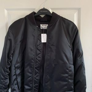 acne studios long quilted bomber jacket